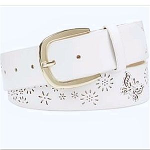 INC Macy's Perforated Butterfly Flower Belt White